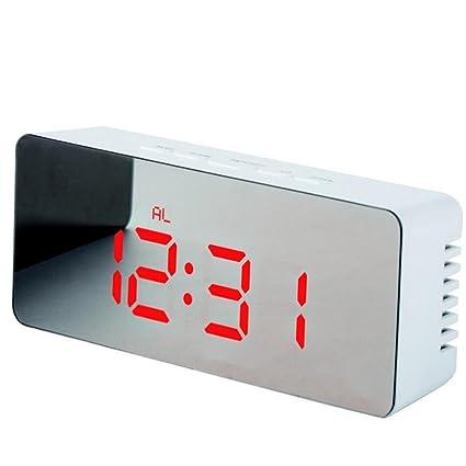 Skyllc Reloj Espejo Rectangular LED Nuevo Reloj Despertador Digital Multifunción Espejo Termómetro Personalizado de Maquillaje Reloj