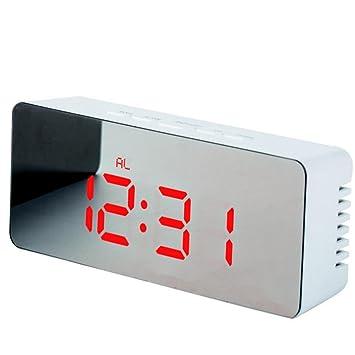 Skyllc Reloj Espejo Rectangular LED Nuevo Reloj Despertador Digital Multifunción Espejo Termómetro Personalizado de Maquillaje Reloj de cabecera Rojo: ...