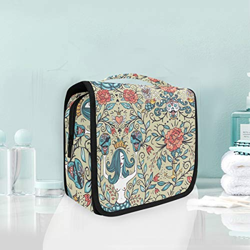 Makeup Bag Mermaid Floral Vintage Roses Skull Cosmetic Portable Travel Hanging Toiletry Bag ()