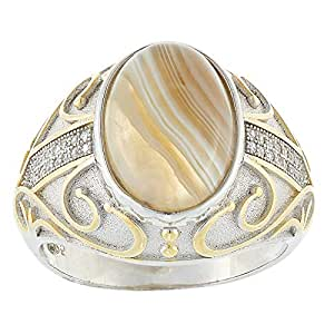 Aurora Men's Silver Aqeeq Sand Ring