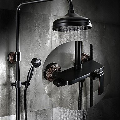 TY Antique Centerset Rain Shower with Ceramic Valve Single Handle Three Holes for Oil-rubbed Bronze, Shower (Single Handle Shower Panel)