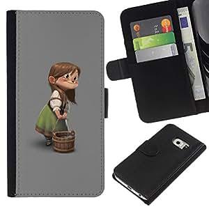 All Phone Most Case / Oferta Especial Cáscara Funda de cuero Monedero Cubierta de proteccion Caso / Wallet Case for Samsung Galaxy S6 EDGE // Character Children'S Girl Cartoon