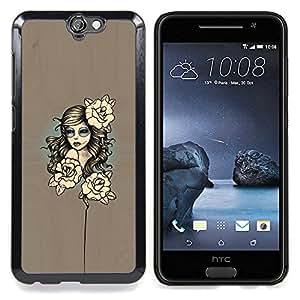 "Qstar Arte & diseño plástico duro Fundas Cover Cubre Hard Case Cover para HTC One A9 (Mujer floral"")"