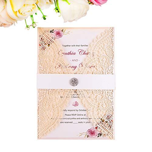 PONATIA 25PCS Laser Cut with Rhinestone Invitation Card Wedding Bridal Shower Engagement Birthday Graduation Invitation Cards (Blush Pink)