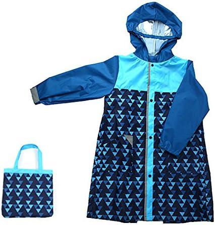 防水 キッズレインコート 子供のベビーフードポンチョブルー環境保護帽子を着用レインコートトライアングル柄レインコート 梅雨対策 アウトドア