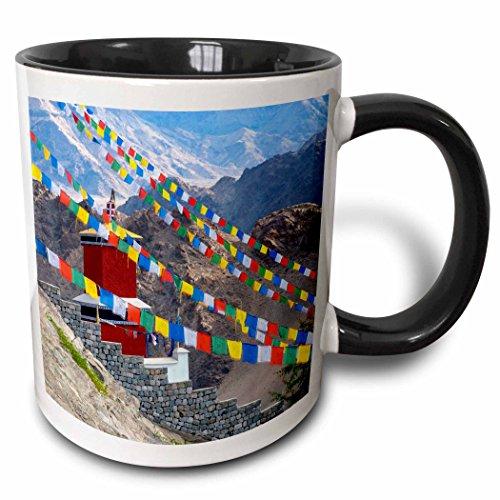 (3dRose Danita Delimont - Ellen Clark - Flags - Jammu and Kashmir, Ladakh, prayer flags at Thiksey Monastery - 15oz Two-Tone Black Mug (mug_188111_9))