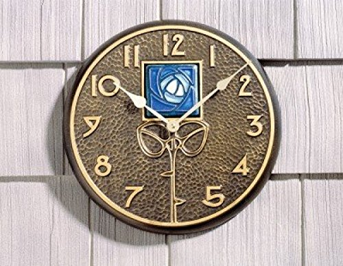 Whitehall Products Blue Dard Hunter Rose Clock, French Bronze (Blue Wall Clock Hunter Rose)