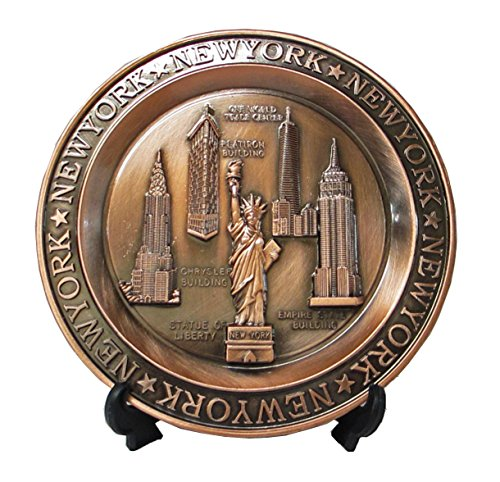 New York Souvenir Metal Plate with Statue of Liberty Manhattan Empire State Building Brooklyn Bridge 4 Inches Diameter