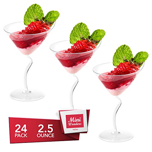 MINI WONDERS Heavy Duty Plastic Clear Single Serve Tall Martini 2.5 oz Cocktail Dessert Cups 24 Count Toast Shot Shooter Glasses Disposable Reusable Party Bowls (Glass Martini Mini)