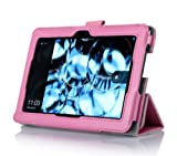ProCase Kindle Fire HDX 7 Case with bonus stylus pen - Tri-Fold Leather Stand Cover for Kindle Fire HDX 7 inch Tablet (will only fit New Kindle Fire HDX 7 2013 released) (Pink)