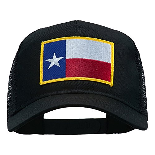 (e4Hats.com Texas State Flag Patched Mesh Cap - Black OSFM)
