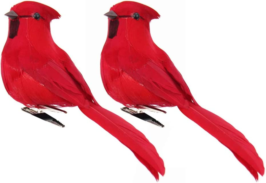 TENDYCOCO Artificial Red Cardinal Birds with Clip Simulated Foam Bird Adornment Ornament Birds Crafts Tree Home Outdoor Decorations,Pack of 2