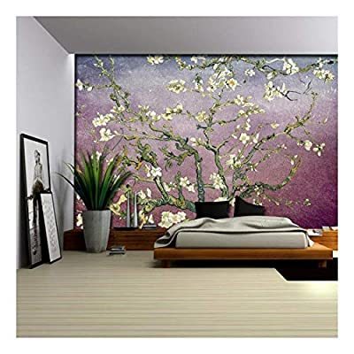 Created Just For You, Marvelous Piece, Lavender with Burgundy Vignette Almond Blossom by Vincent Van Gogh Wall Mural