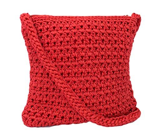(Boho Crochet Crossbody Handbag, Organizer Sling Bag, Small Crocheted Hippie Purse (Red))