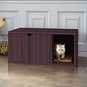 Way Basics Eco Friendly Modern Cat Litter Box Furniture Enclosure, Espresso Wood Grain (Tool-Free Assembly and Uniquely Crafted from Sustainable Non Toxic zBoard paperboard) 117