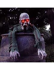 فيجول هالوين جراوند بريكر زومبي زاحف مع عيون LED وتأثير صوت مخيف 43.3 بوصة هالوين مخيف أرضي رسوم متحركة زومبي للهالووين لتزيين الهواء الطلق
