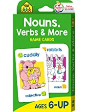 School Zone - Nouns, Verbs & More Game Cards - Ages 6+, Grammar, Parts of Speech, Word-Picture Association, Sentence Structures, and More