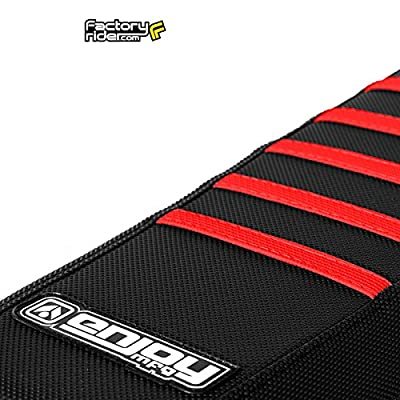 Enjoy MFG 2001 - 2020 Suzuki RM 125 / 250 ALL BLACK WITH RED RIBS Full Gripper Seat Cover by ENJOY MFG: Sports & Outdoors