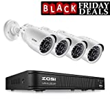 ZOSI 720P 8-Channel Home Security Camera System ,1080N HD-TVI CCTV DVR Recorder and (4)1.0MP 720P(1280TVL) Night Vision Indoor/Outdoor Weatherproof Surveillance Bullet Cameras(No Hard Drive)