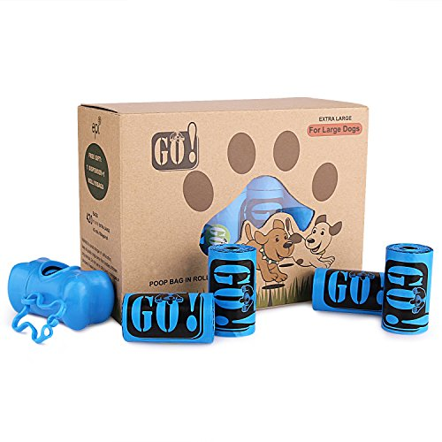 GO! Large Dog Poop Bags with Dispenser and Leash Clip,Dog Waste Bags 11x 15 Refill Rolls Bags(42 Rolls/420 Counts,Scented),Blue Poop Bags for Dogs/Cats