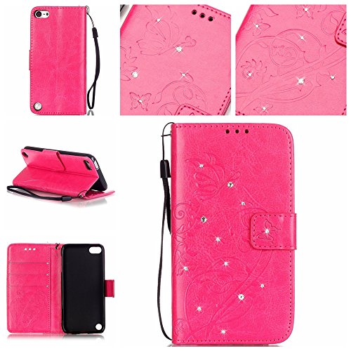 iPod Touch 5 Case,iPod Touch 6 Case,LEECO3D Butterfly Pattern Wallet Cover Kickstand Diamond Flip Folio Magnet Leather PU Protective Case for Apple iTouch 5th / 6th [Crystal] Rose