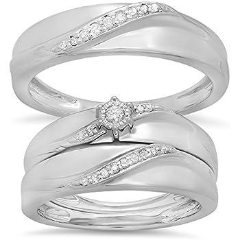 0.15 Carat (ctw) 10K White Gold Round Cut White Diamond Men & Women's Engagement Ring Trio Bridal Set