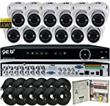 CIB Security T80P16K2T03W-TAI-12KIT 16CH 1080P Video Security DVR, 2TB HDD & 12×2.1-MP 1920TVL Night Vision Camera, White