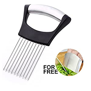 Best Utensils Onion Holder Slicer Vegetable Tools Slicing Guide Vegetable Tomato Lemon Meat Holder Slicer Tools Cutter, | Stainless Steel Cutting Kitchen Gadget | Onion Peeler | Onion Storage