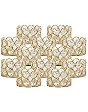 VINCIGANT Gold Crystal Candle Holders for Table Centerpiece, Tea Light Votive Candle Holders for Wedding, Party, Home Decoration (Pack of 12 Pieces)