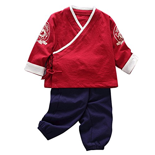 - JIANLANPTT Little Boy Girls Tang Suit Dragon Pattern Top+Pant Kids Chinese Style Clothing Set Style 2 Red 1-2years