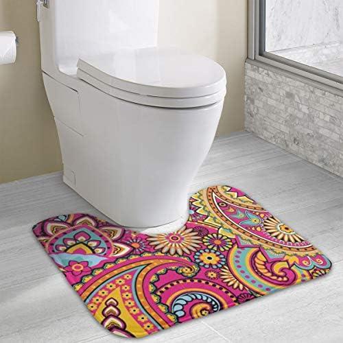 ペイズリー花モザイク トイレマット Uタイプ トイレファブリック 40X49CM 厚くする トイレ フロアマット 防臭 抗菌 防湿 滑り止め 浴室足ふきマット おしゃれ トイレ用品