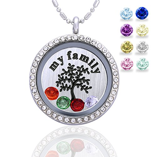 Family Tree Birthstone Necklace - Floating Living Memory Lockets Pendant + My Family Tree Backplate + 12 Pcs Birthstones, Mothers day gifts, Birthday Gifts, Christmas day gifts, Thanksgiving gifts