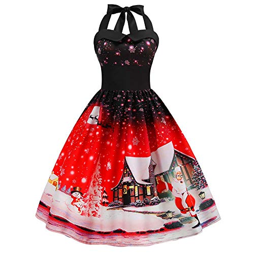 - Women Vintage Christmas Printed Halter Sleeveless Evening Party Prom Swing Dress