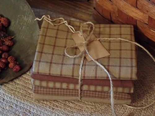Primitive Tags (5 Count Mocha Homespun Fabric Fat Quarters & Cinnamon Vanilla Scented Hang Tag~)