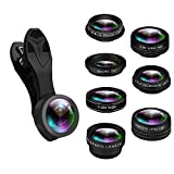 misognare 7 in 1 Cellphone Lens Kit, 0.36X Super Wide Angle Lens+198° Fisheye Lens+0.63X Wide-angle+15X Macro Lens+2X Telephoto+CPL+Kaleidoscope Clip on Camera Lens Kit for iPhone Samsung Smartphones