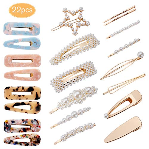 22pcs Pearl Hair Clips for Women Girls, DAILING Hair Clips Acrylic Resin Hair Barrettes Fashion Sweet Hairpins for for Party Wedding Daily, Applies to Bun Updo ()