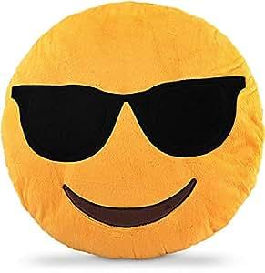 Emoji Smiley Emoticon Yellow Round Cushion Pillow Size 31 * 31 * 7 cm - I Am Cool