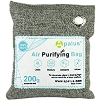 APALUS Natural Air Purifying Bag. Odor Eliminator for Cars, Closets, Bathrooms and Pet Areas. Bamboo Activated Charcoal Air Freshener, Deodorizer and Purifier Bags,100% Natural & Chemical Free, 200G
