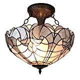 Amora Lighting AM216HL16 Tiffany Style Semi Flush Mount Ceiling Fixture 16 In Wide