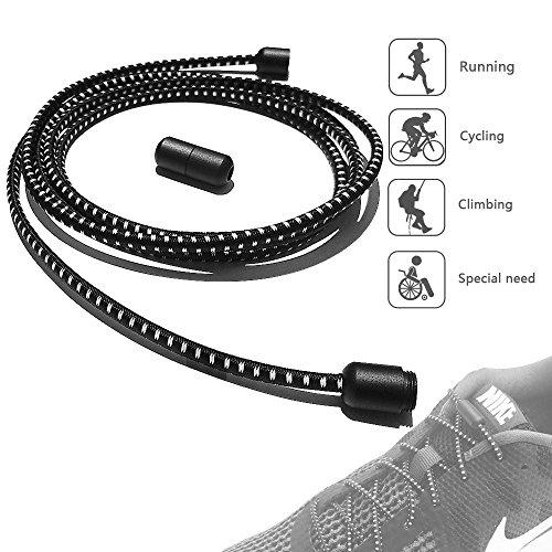 ILIVABLE No Tie Shoelaces, Screw Connector with Elastic Shoe lace Solution for Mens, Womens, Seniors & Kids Shoes, Cleats, Boots (Zebra)