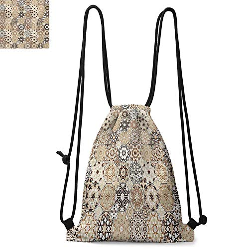 (Eastern Printed drawstring backpack Octagonal and Square Ornaments Retro Colored Old Fashioned Tile Suitable for school or travel W17.3 x L13.4 Inch Beige Dark Brown Pale Brown)