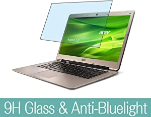 """Synvy Anti Blue Light Tempered Glass Screen Protector for ACER Aspire S3-331 / S3-371 / S3-391 13.3"""" Visible Area 9H Protective Screen Film Protectors (Not Full Coverage)"""