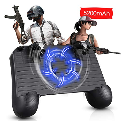 Mobile Controller with Cooling Fan 5200mah Power bank, Mobile Gaming Trigger for PUBG/Fortnite/Rules of Survival, Gaming Grip and Gaming Joysticks for 4-6.5inch Android ios phone