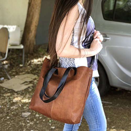 Brown tote bag Brushed sturdy Distressed leather handbag Handmade Shopper Minimal purse by Leather Bags and Accessories Handmade by Limor Galili