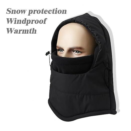 c36a156422efa Amazon.com  Ski Face Mask Cap Heavyweight Balaclava Fleece Hood Waterproof  Neck Warm Hat for Men and Women Winter Outdoor Sports (Black)  Clothing