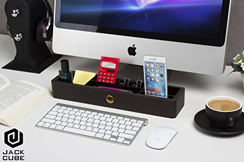 Jack Cube Desk Supplies Organizer/ Desk Caddy/Memo Pad Rack/Stationery Organizer/Cell Phone Stand/Stationery Holder/Smart Phone Stand/Leather Organizer/Office Organizer(Brown) - MK137B