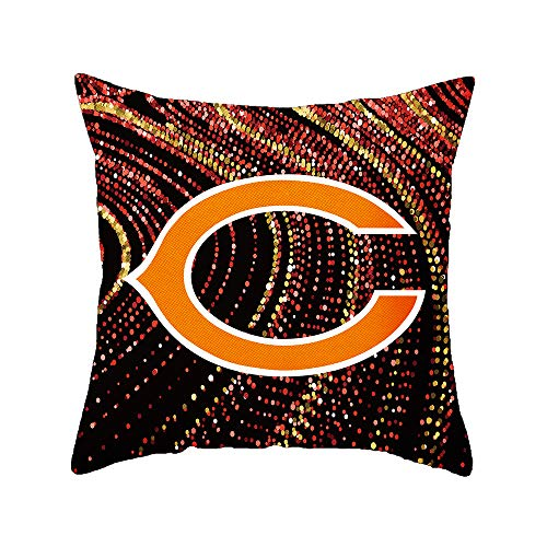 Gloral HIF Chicago Bears Throw Pillow Covers Set Pack of 2 Cotton Linen Zippered Pillowcase for Car 18