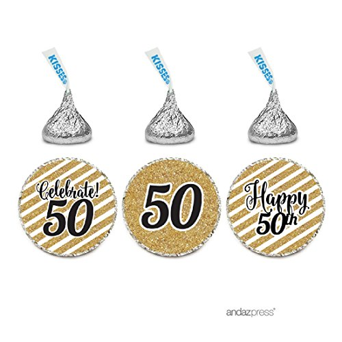 Anniversary Party Favors (Andaz Press Milestone Chocolate Drop Labels Trio, Fits Hershey's Kisses Party Favors, Celebrate 50, 50th Birthday or Anniversary, 216-Pack, Printed Gold Glitter, Not Real Glitter)
