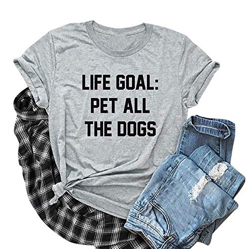LOTUCY Life Goal Pet All The Dogs Women's Summer Short Sleeve Relaxed T-Shirt Tee Dog Mom Shirt Size M ()