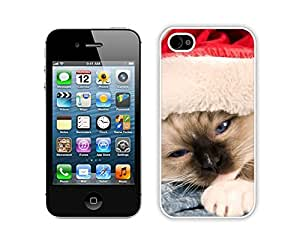 2014 New Style Sleepy Red Hat Christmas Cat Iphone 4s,Apple Iphone 4s White TPU Cover Case